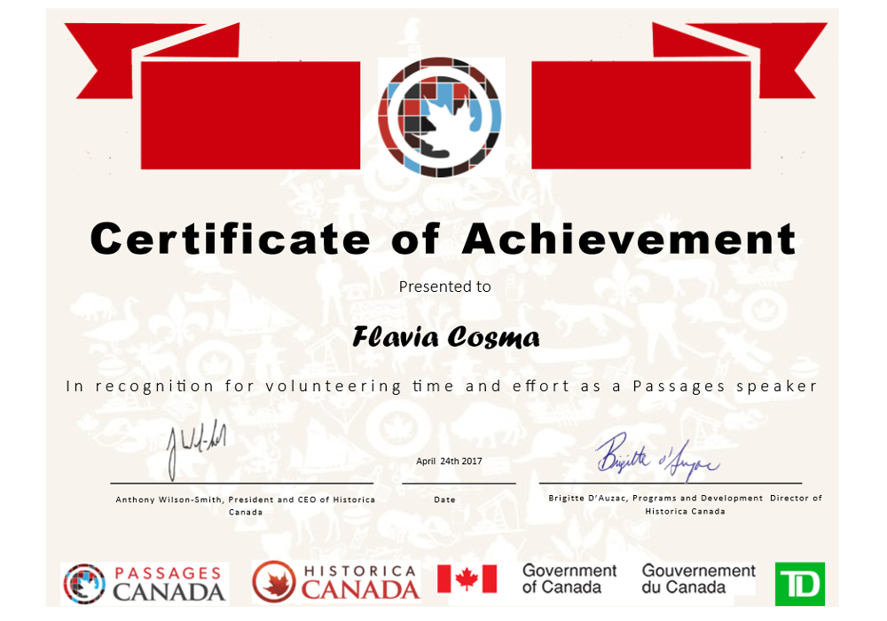 Certificate of Achievement presented to Flavia Cosma in recognition for volunteering time and effort as a Passages speaker